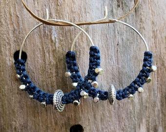 Hoop earrings with blue grey macrame and silver metal beads