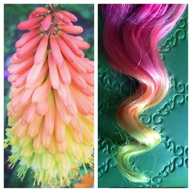 Neon Ombre Hair Extensions Colored Hair Extension Clip Hair