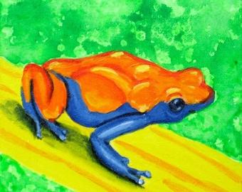 Orange Poison Dart Frog Painting on Canvas. Children's Room Wall Art. Rainforest Nursery Decor. Boy Baby Room Art