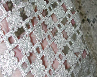 "No. 300 Silver Metallic Guipure Lace Flounce; 8 yards x 9"" (Sold by Yard)"