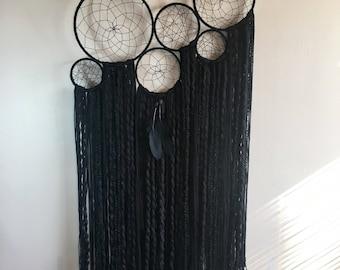 Large black wall hanging, wall hanging, bohemian wall hanging, dreamcatcher, tapestry, large dreamcatcher, boho