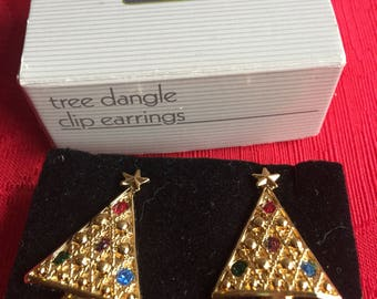 Sale!NIB Vintage Avon Tree Dangle Clip Earrings, 1992