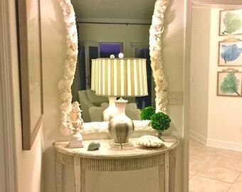 Beach Decor - Large Natural Seashell Mirror with Coral and Starfish - coastal/nautical/sea shell/seashells/sea shells/beach house style
