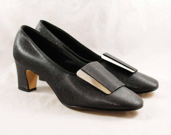 Shoes Size Tone 1 6 Secretary Silver NOS 47874 Black Deadstock Glossy Pumps Very Mod Style Sleek 1960s 60s with Buckle Minimalist qqFYwrS