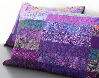 Quilted Pillow Shams Set of Two Purple Modern Patchwork Standard, King Size, or Euro Pillow Shams Quilt Modern Bed Pillow Covers Quilt Art