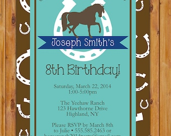 Horse Birthday Invitation Horse Riding Invite Horseshoe Western Turquoise Brown Navy Party Printable Invitation Printable Invite (153-b)