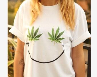WEED SMILEY t-shirt shirt tee unisex men women tumblr pinterest instagram sativa marijuana swag dope graphic funny 100%cotton gift*brand new