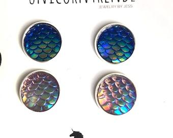 Mermaid Studs, Scale Studs, Mermaid Earrings, Holographic Studs,Scale Earrings, Mermaid Jewelry, Dragon Earrings, Purple Earrings