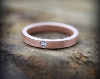 Rose gold diamond ring - 3mm recycled 14K rose gold band with flush set diamond