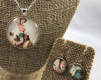 Vintage Pin Up Cowgirl Necklace and Earrings Set