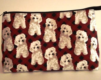 CUTE PUPPY DOGS on black and red background 100% cotton fabric Cosmetic Bag, gift bag with full width opening and nylon zipper closure