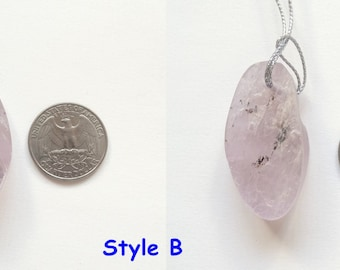 Rare Kunzite Raw Freeform Crystal Pendant with Drilled Hole Several Choices H6268
