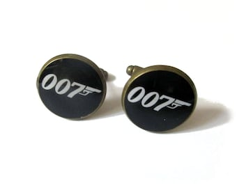 007 JAMES BOND inspired Cufflinks - Timeless mens jewelry - keepsake gift - classic cuff link accessories - gift for men - groom cuff links