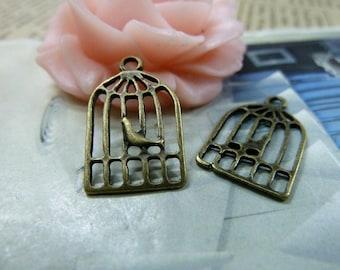 30pcs 12x19mm The Cage  Antique Bronze Retro Pendant Charm For Jewelry Bracelet Necklace Charms Pendants C1632