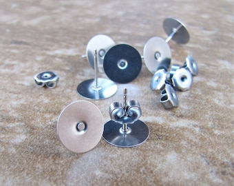 50 pcs 10mm Surgical Stainless Steel Flat Pad Earring Posts and Backs - 25 pairs