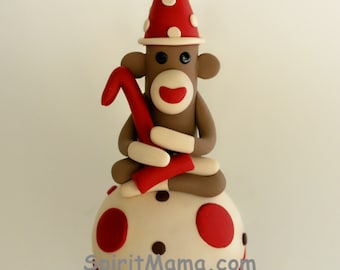 Smash Cake Sock Monkey Birthday Cake Topper w Number 4 inches Tall Boy or Girl