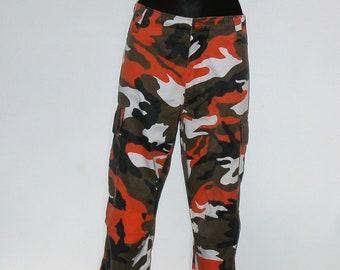 Vintage Bright Orange Cargo Trousers 14 16 Army Combat Camo Camouflage 90'S Y2K 00'S military sci-fi club festival streetwear