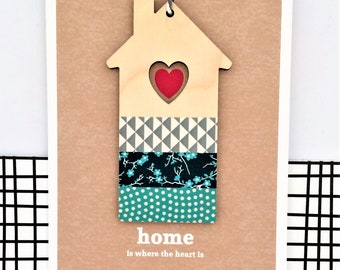 New Home Card - Luxury handmade Card, Keepsake Card, Home is where the heart is, Housewarming Card