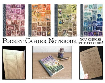 Colourful Postage Stamp Notebook, Recycled Travel Journal | Boho Memory Book, Travel Gift, Kraft Cahier TN Insert | Postal Stamp Collage Art
