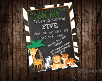 Lions, Tigers and Bears OH My! Invitation