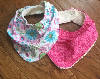 Bandana Bibs, set of 2, Minnie and Roses