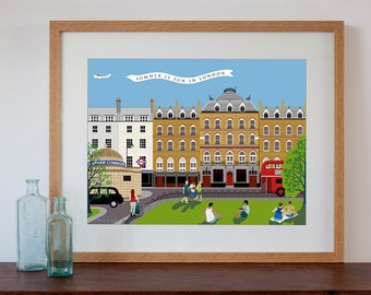 Clapham Common Modern Retro Art Print