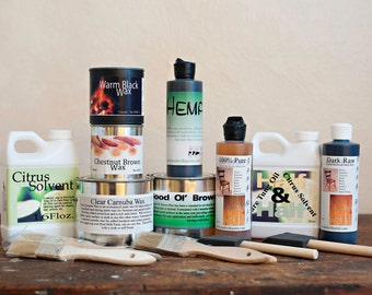 Natural Oil and Wax Wood Finishing Starter Kit