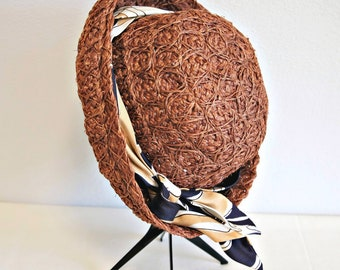 Summer Straw Hat 1970's 1980's Rolled Brim Brown Beach Day Chapeau