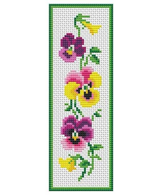 Punchy image inside free printable counted cross stitch bookmark patterns