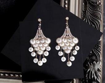 Ivory glamour chandelier drop earrings