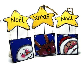 Three Ornaments with Stars - Santa Claus, snowman and reindeer Christmas