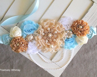 Maternity Sash, Boy Maternity Sash, Blue Maternity Sash, Baby Shower Sash, Flower Sash, RTS, Light Blue, Baby Blue, Cream, Ivory Tan, White