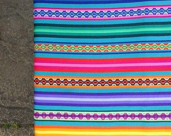 Peruvian/Bolivian aguayo multi coloured fabric / tablecloth / rug / blanket