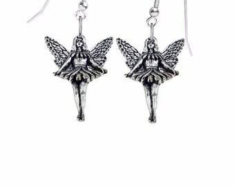 Pair of Standing Fairy on hook Earrings sterling silver 925 jewellery jewelry Code C14