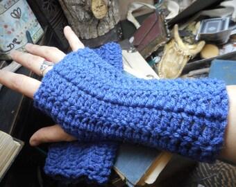 The Denim Blue Fingerless Texting Gloves. Crochet Gloves  Blue denim. Handmade  Arm Warmers, Fingerless Mittens. Victorian style boho gloves