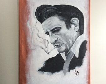"""Painting 24 """"x 30"""" / canvas / Johnny Cash portrait"""