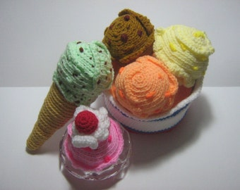 Ice Cream Crochet Pattern Dessert Crochet Pattern Food PDF Instant Download Ice Cream Galore
