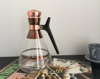Glass Coffee Carafe with Copper Cork - Great Mid Century Style