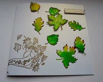 From me to you card. Autumnal leaves card. Fall season card. Falling leaves card. Any occasion card. Keepsake card.