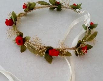 Red Flower girl Halo crown Bridal Hair wreath silk dried floral garland headdress destination Wedding Accessories baby circlet photo prop