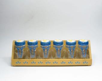Vintage Painted Ceramic Rooster Lid Glass Kitchen Jars with Blue Metal Bail, Glass Jars Metal Bail, Rooster Kitchen Decor, Metal Bail Jars