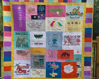 T Shirt Quilt Mosaic with Pieced Borders (DEPOSIT) - Mosaic Tee Shirt Quilt - T-Shirt Quilts - Upcycled Tees
