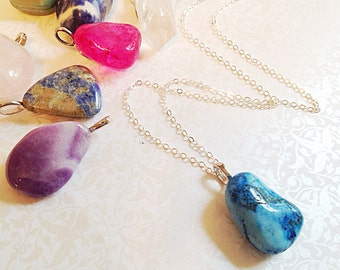 Natural Gemstone Necklace. You Choose. Custom. Amethyst. Sodalite. Rose Quartz. Long Necklace. Minimalist. Summer. Boho. Blue. Pink. Purple.
