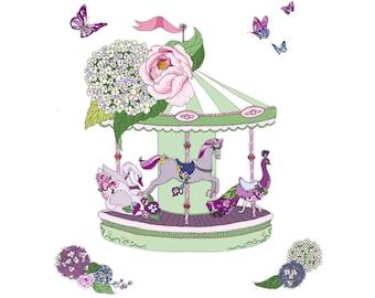 Carousel art print. Nursery wall art. Girl's nursery. Nursery decor. Pretty wall art. Can be printed in other size.
