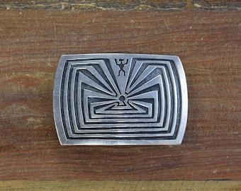Vintage Navajo Sterling Silver Overlay Man in the Maze Belt Buckle