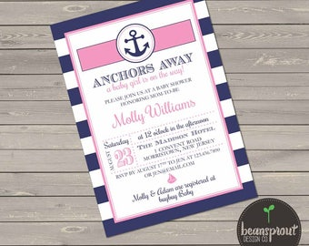 Anchors Away Baby Shower - Nautical Girl Baby Shower Invitation  - Navy Blue and Pink Baby Shower  - Girl Baby Shower - Nautical Invite