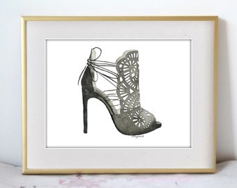 Lace and Ties, Fashion Illustration Watercolor Painting Print  -- Home/office decor and wall art, Fashion prints, Black shoes