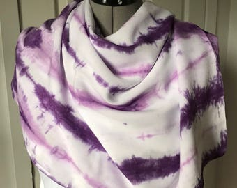 Wide scarf, violet and purple scarf, rayon scarf, shibori stripes, rolled and tied, 20 x 70, (WR10.3)