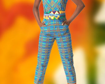 Bright Kente Print Jumpsuit in Wax Block Ankara Cotton