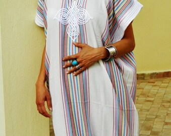 Kaftan Sale 20% Off/ Bedouin Style Resort Caftan Kaftan- White-Perfect as loungewear, as beachwear,cover ups,resortwear, Kaftan, maternity,